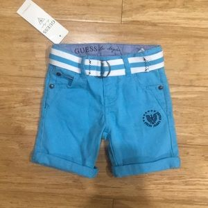 New Guess Blue Shorts with Belt  12 Months
